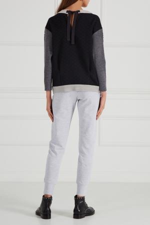 Меланжевые брюки из хлопка LISA&LEO. Цвет: серый
