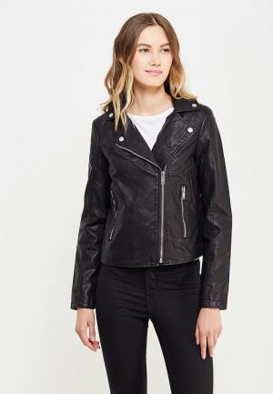 Куртка кожаная Springfield. Цвет: черный