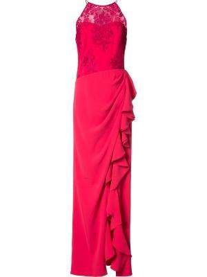 Платье с оборками Badgley Mischka. Цвет: розовый и фиолетовый