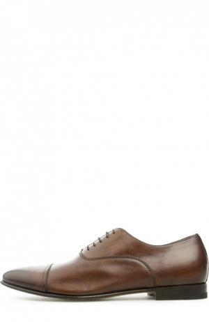 Кожаные оксфорды Santoni. Цвет: коричневый