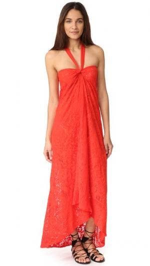 Длинное платье с американской проймой Fuzzi. Цвет: fiamma