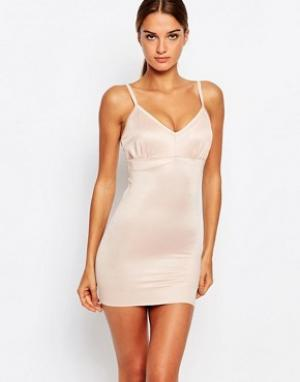 Smooothees Моделирующее платье-комбинация с бретельками. Цвет: бежевый