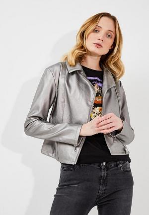 Куртка кожаная Liu Jo Jeans. Цвет: серебряный