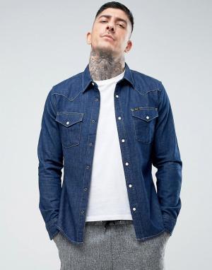 Lee Джинсовая узкая рубашка в стиле вестерн. Цвет: темно-синий