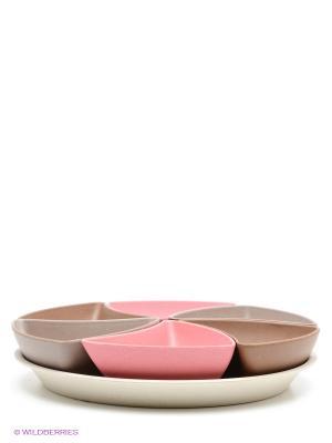 Сет сервировочный, 7 пр. Frybest. Цвет: розовый, коричневый, бежевый, молочный