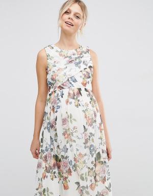 ASOS Maternity Платье миди с запахом и цветочным принтом для беременных Maternit. Цвет: мульти