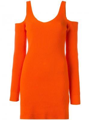 Вязаное платье Mm6 Maison Margiela. Цвет: жёлтый и оранжевый