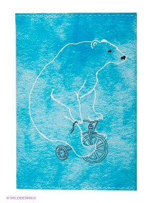 Обложка для автодокументов Мишка на велосипеде Mitya Veselkov. Цвет: голубой, белый, черный