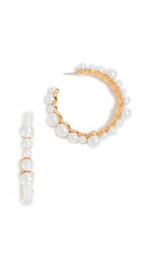 Imitation Pearl Hoop Earrings Kenneth Jay Lane