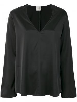 Блузка с V-образным вырезом Forte. Цвет: чёрный