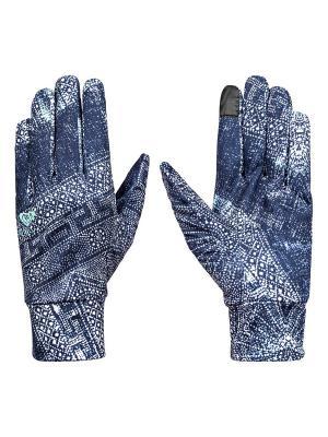 Перчатки ROXY. Цвет: темно-синий, бирюзовый, серо-голубой