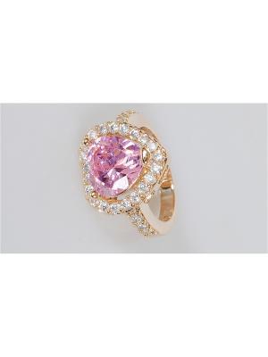 Кольцо фианит розовый большое сердце Lotus Jewelry. Цвет: розовый