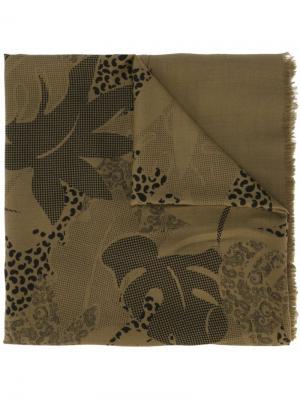 Платок с принтом листьев монстеры Jean Louis Scherrer Vintage. Цвет: зелёный