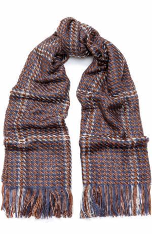 Вязаный шарф с бахромой Deha. Цвет: синий