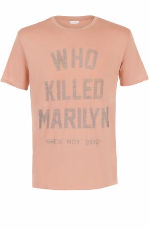 Хлопковая футболка с контрастной надписью Elevenparis. Цвет: розовый