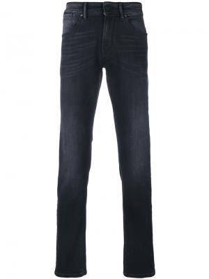 Прямые брюки с эффектом потертости Pt05. Цвет: чёрный