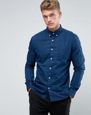 Burton Menswear Джинсовая рубашка узкого кроя. Цвет: темно-синий