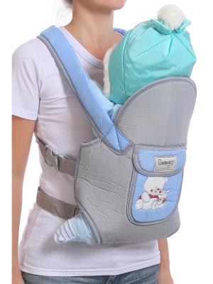 Слинг-рюкзак M-BABY. Цвет: голубой, светло-серый