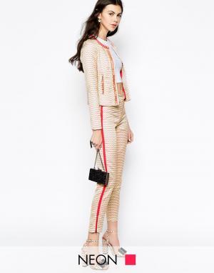 Starlet Жаккардовые брюки с контрастной отделкой. Цвет: кремовый