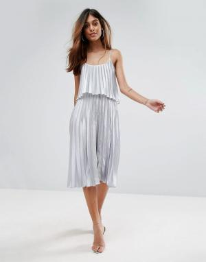Oh My Love Плиссированное платье миди 2 в 1. Цвет: серебряный
