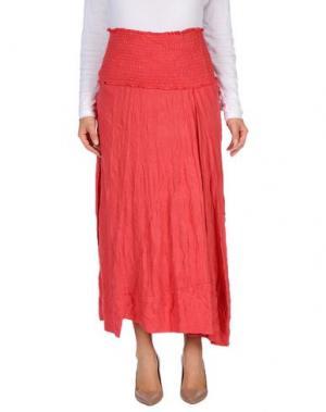 Длинная юбка OBLIQUE CREATIONS. Цвет: коралловый
