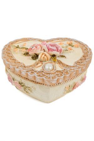 Шкатулка для украшений Русские подарки. Цвет: коричневый, белый, розовый