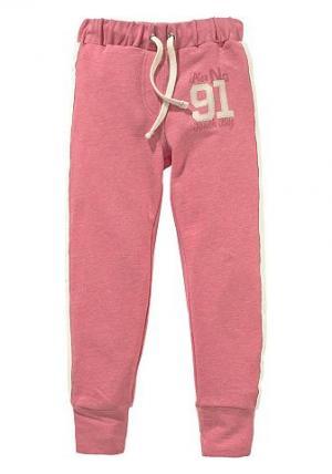 Трикотажные брюки с эффектом меланж Arizona. Цвет: розовый + меланж