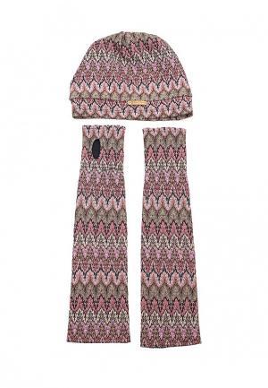 Комплект шапка и митенки Sahera Rahmani. Цвет: розовый