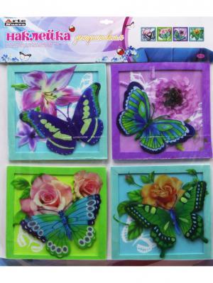 Наклейка для декора бабочки ArteNuevo. Цвет: зеленый, фиолетовый