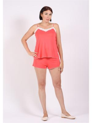 Пижама COTTONLAB. Цвет: коралловый
