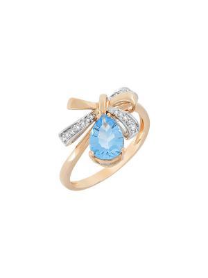 Кольцо с бриллиантом и топазом Магия Золота. Цвет: золотистый