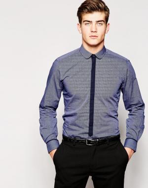Red Eleven Рубашка с планкой контрастного цвета. Цвет: темно-синий