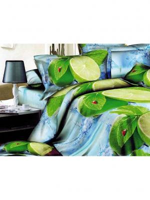 Постельное белье Микрофибра 3D 2-сп. Лимон 2282 МарТекс. Цвет: голубой, синий, зеленый