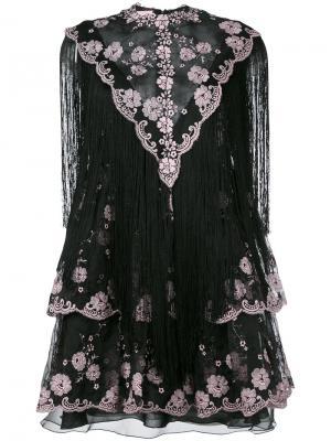 Кружевное платье с бахромой Giamba. Цвет: чёрный