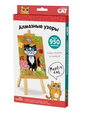 Origami Cat. Мозаика. Алмазные узоры. Merlin Cat. Цвет: черный, оранжевый, светло-зеленый