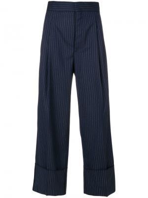 Укороченные широкие брюки Erika Cavallini. Цвет: синий