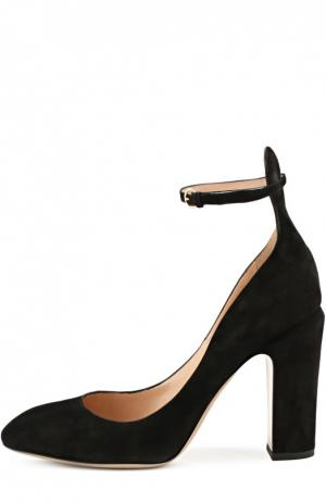 Замшевые туфли Tan-Go с ремешком на щиколотке Valentino. Цвет: черный