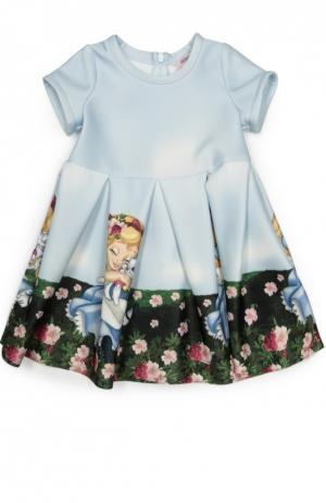 Платье джерси с принтом Monnalisa. Цвет: разноцветный