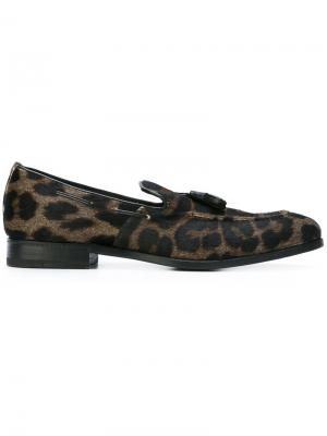 Леопардовые лоферы Henderson Baracco. Цвет: коричневый