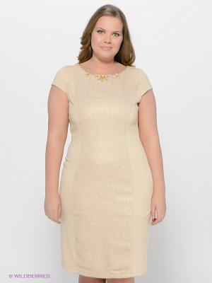 Платье LE MONIQUE. Цвет: светло-бежевый, золотистый