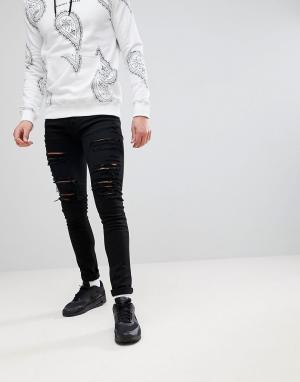 Criminal Damage Черные облегающие джинсы с рваной отделкой. Цвет: черный