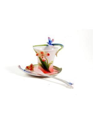 Подарочный чайный набор Стрекоза на 1 персону Русские подарки. Цвет: белый, зеленый, красный