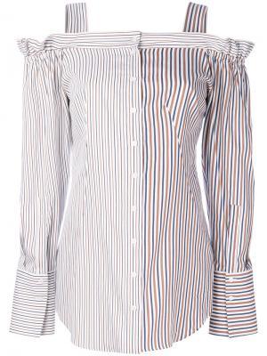 Полосатая рубашка с открытыми плечами Dondup. Цвет: белый
