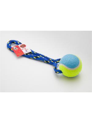Игрушка канатная с теннисным мячом, 18 см Doggy Style. Цвет: синий