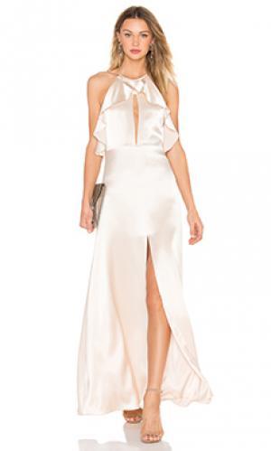 Вечернее платье на бретельках с рюшами JILL STUART. Цвет: кремовый