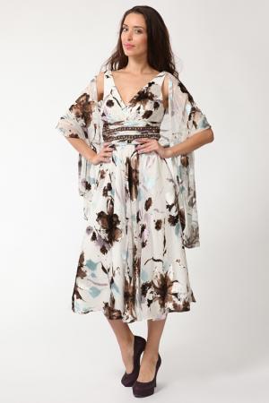 Платье Manys Tune. Цвет: белый, коричневый