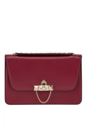 Кожаная сумка на ремне-цепочке Valentino. Цвет: розовый