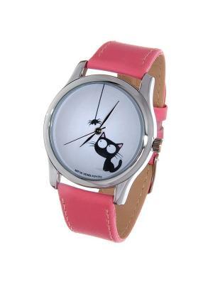Часы Mitya Veselkov Кошка и паучок. Цвет: розовый
