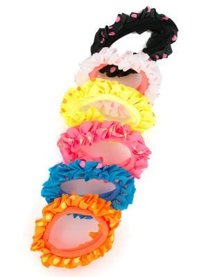 Резинка для волос 6 шт. в упаковке с оборками горошек JD.ZARZIS. Цвет: желтый, белый, черный, голубой, оранжевый, розовый