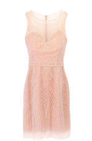 Полупрозрачное мини-платье с вышивкой бисером и пайетками Basix Black Label. Цвет: розовый